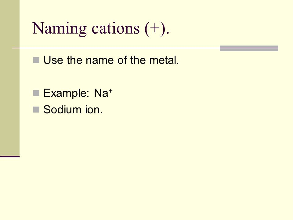 Naming cations (+). Use the name of the metal. Example: Na+