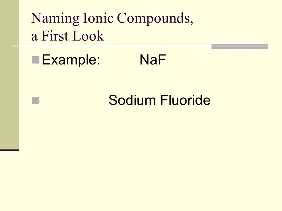 Naming Ionic Compounds, a First Look