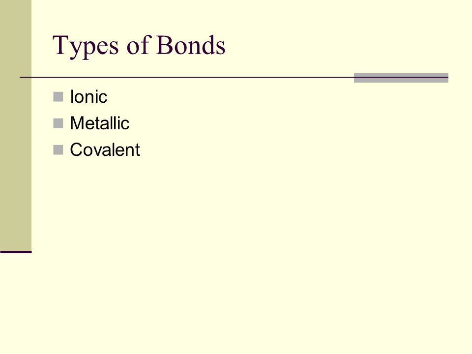 Types of Bonds Ionic Metallic Covalent