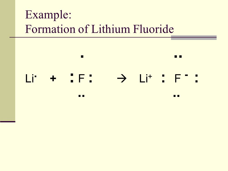 Example: Formation of Lithium Fluoride