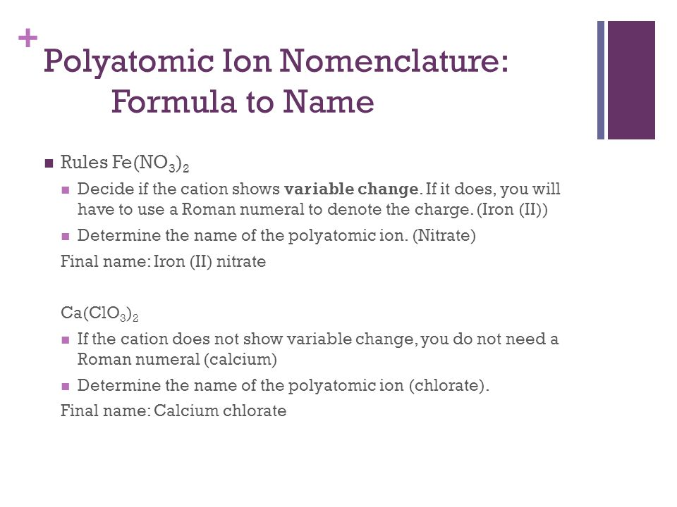 Polyatomic Ion Nomenclature: Formula to Name