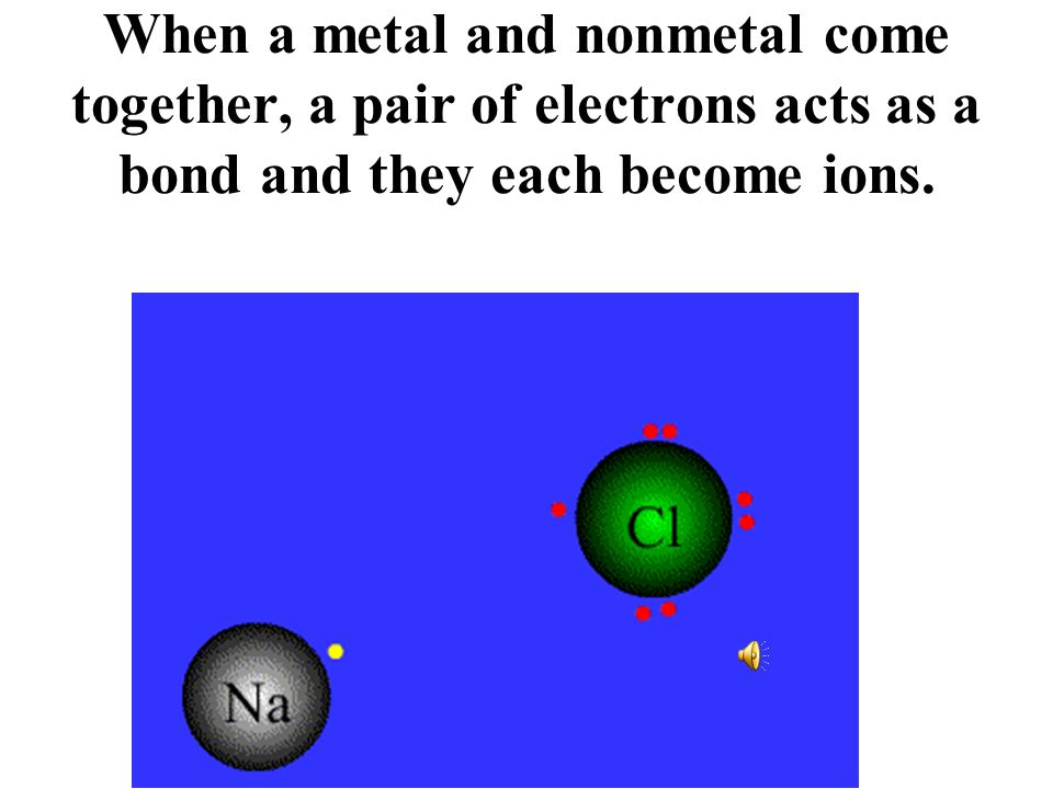 When a metal and nonmetal come together, a pair of electrons acts as a bond and they each become ions.