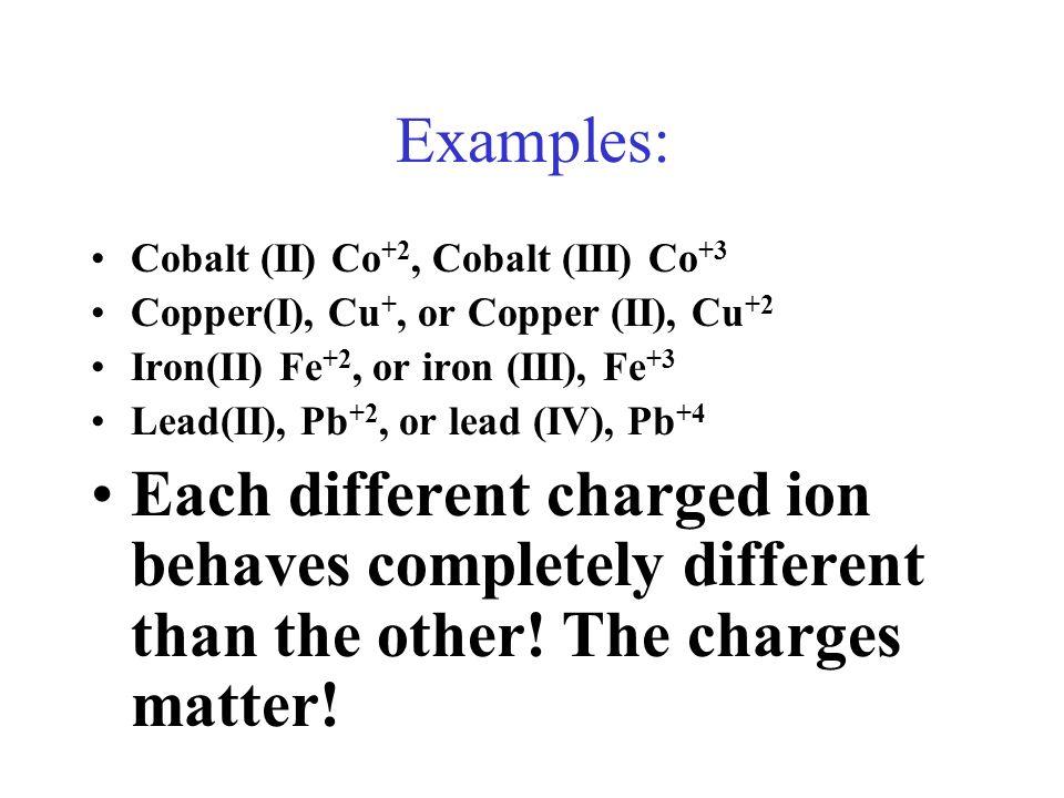 Examples: Cobalt (II) Co+2, Cobalt (III) Co+3. Copper(I), Cu+, or Copper (II), Cu+2. Iron(II) Fe+2, or iron (III), Fe+3.