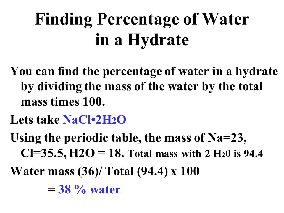 Finding Percentage of Water in a Hydrate