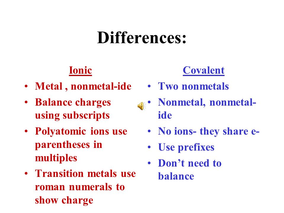 Differences: Ionic Metal , nonmetal-ide