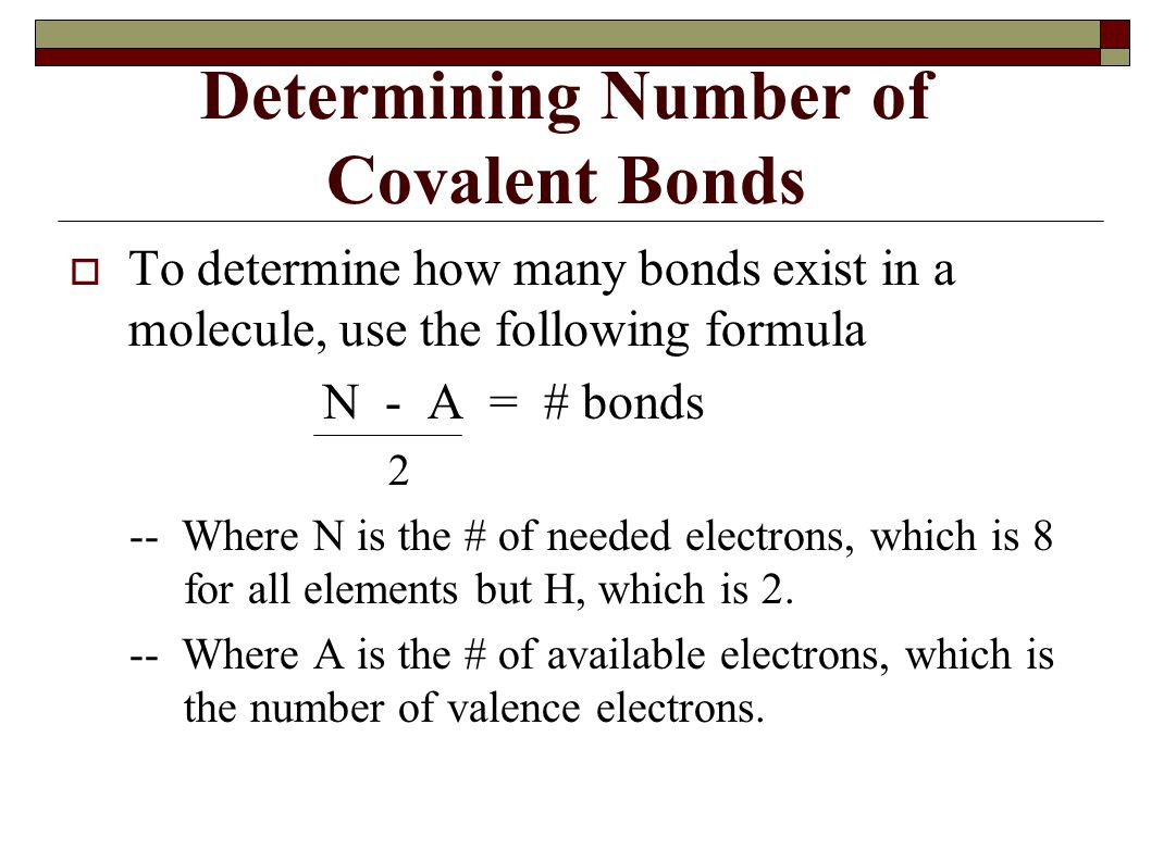 Determining Number of Covalent Bonds
