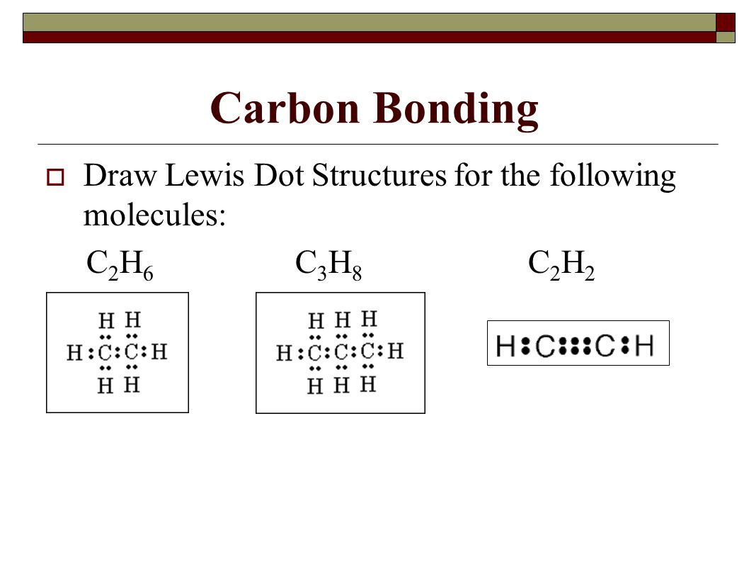Carbon Bonding Draw Lewis Dot Structures for the following molecules: