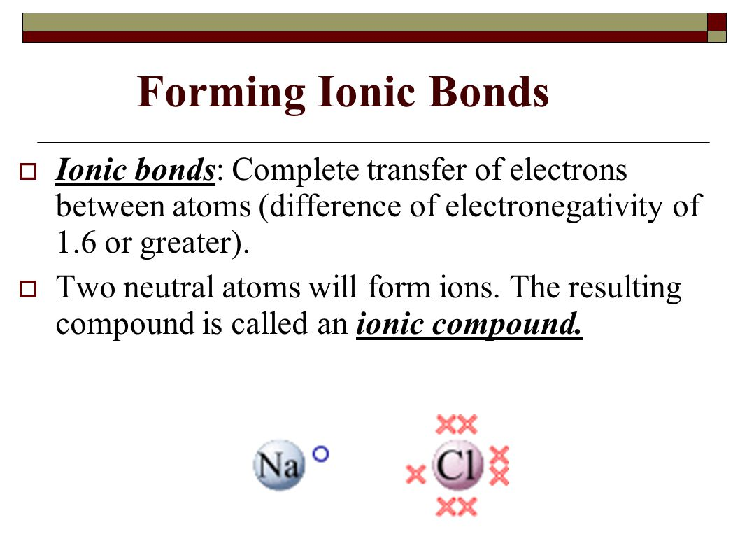 Forming Ionic Bonds Ionic bonds: Complete transfer of electrons between atoms (difference of electronegativity of 1.6 or greater).