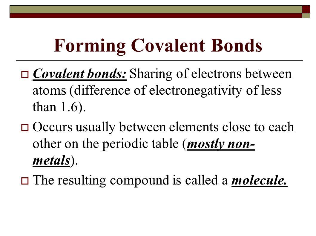 Forming Covalent Bonds