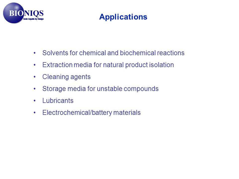 Applications Solvents for chemical and biochemical reactions