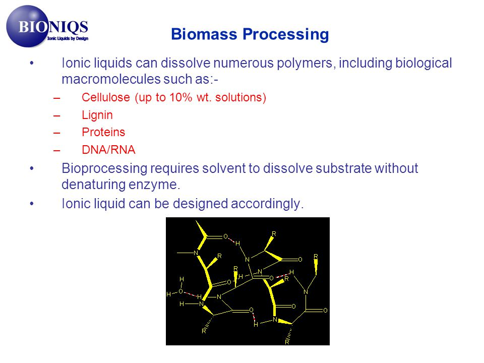 Biomass Processing Ionic liquids can dissolve numerous polymers, including biological macromolecules such as:-