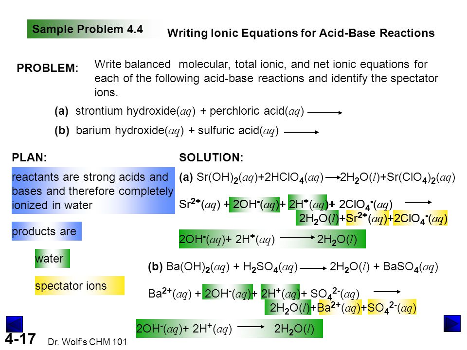 Sample Problem 4.4 Writing Ionic Equations for Acid-Base Reactions. PROBLEM: