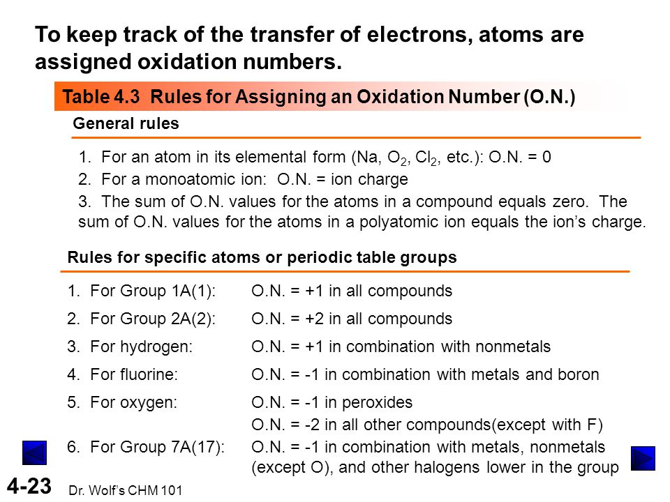 To keep track of the transfer of electrons, atoms are assigned oxidation numbers.