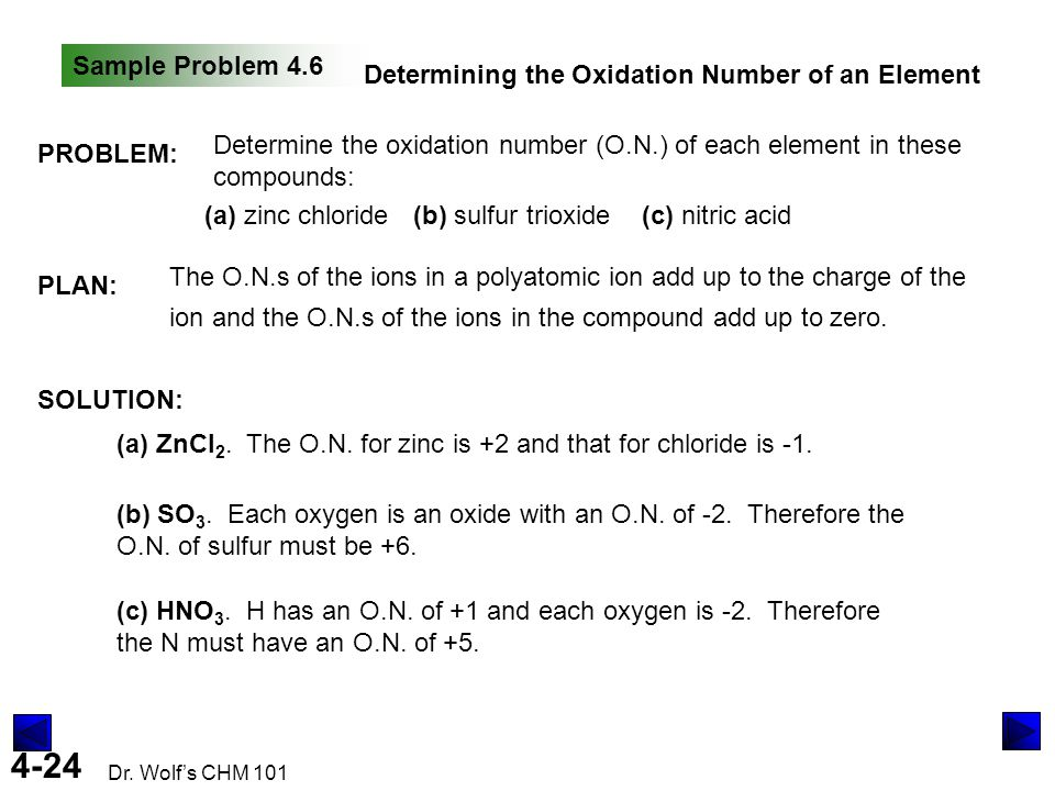 Sample Problem 4.6 Determining the Oxidation Number of an Element. PROBLEM: