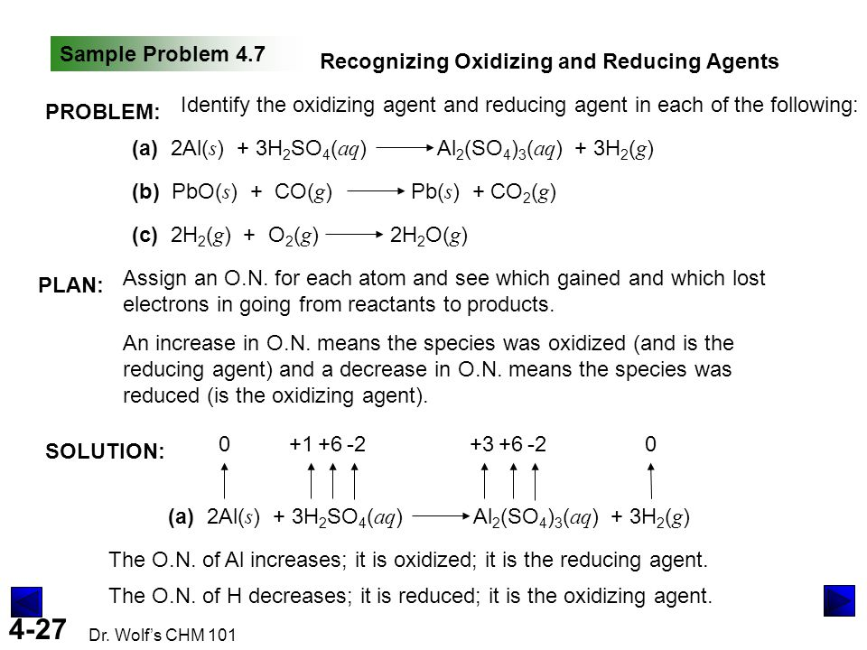 Sample Problem 4.7 Recognizing Oxidizing and Reducing Agents. PROBLEM: Identify the oxidizing agent and reducing agent in each of the following: