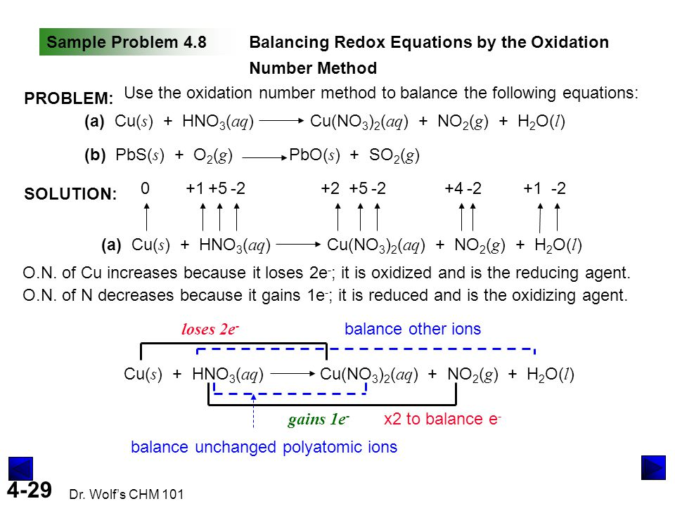 Sample Problem 4.8 Balancing Redox Equations by the Oxidation Number Method. PROBLEM: