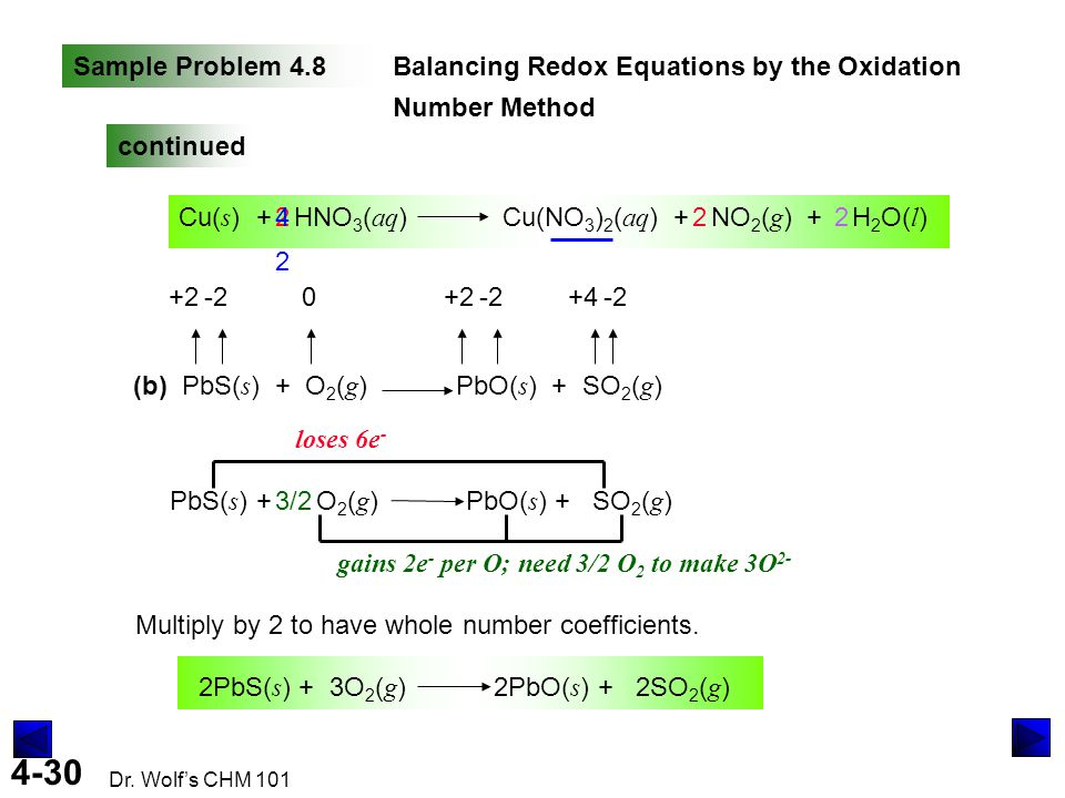 Sample Problem 4.8 Balancing Redox Equations by the Oxidation Number Method. continued.