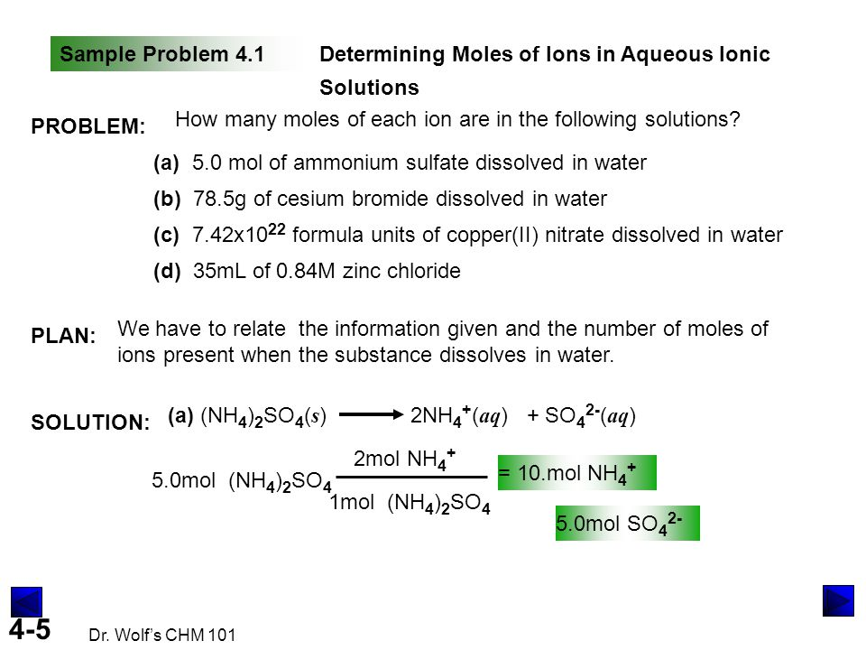 Sample Problem 4.1 Determining Moles of Ions in Aqueous Ionic Solutions. PROBLEM: How many moles of each ion are in the following solutions