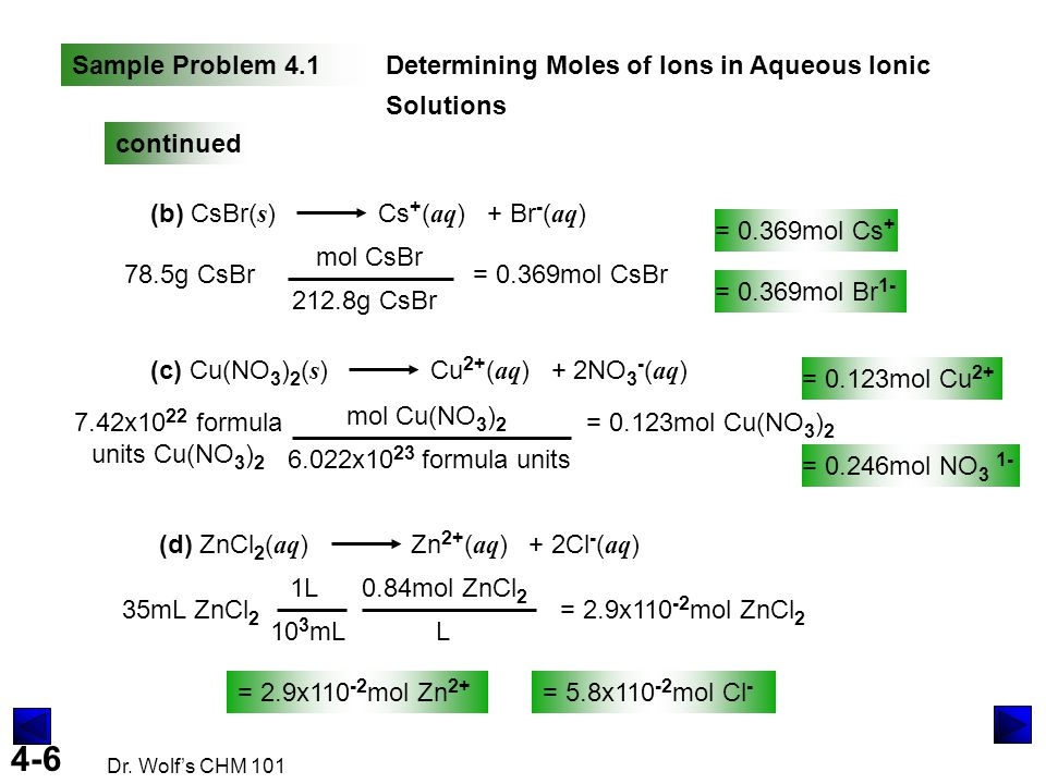 Sample Problem 4.1 Determining Moles of Ions in Aqueous Ionic Solutions. continued. (b) CsBr(s) Cs+(aq) + Br-(aq)
