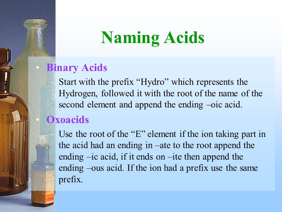 Naming Acids Binary Acids Oxoacids