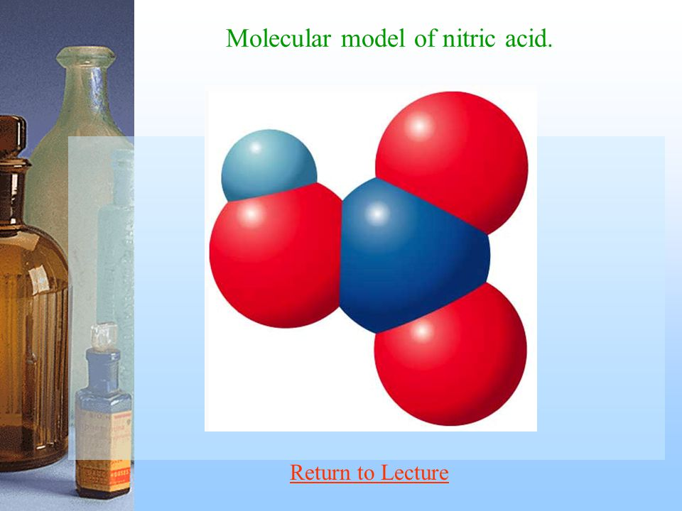 Molecular model of nitric acid.