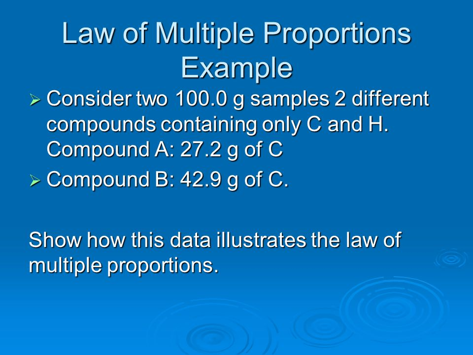 Law of Multiple Proportions Example