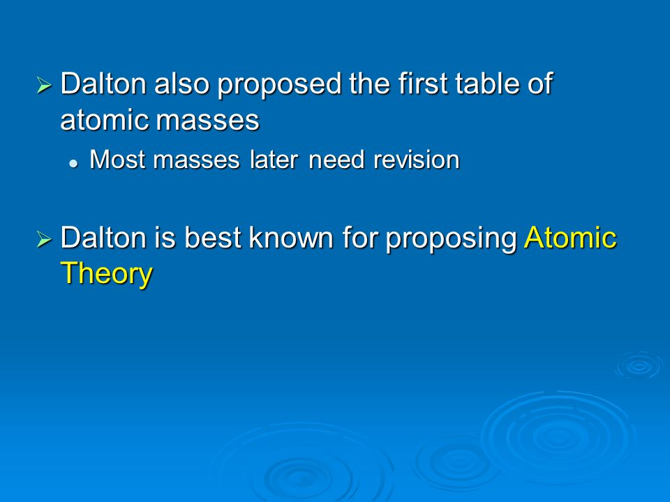 Dalton also proposed the first table of atomic masses