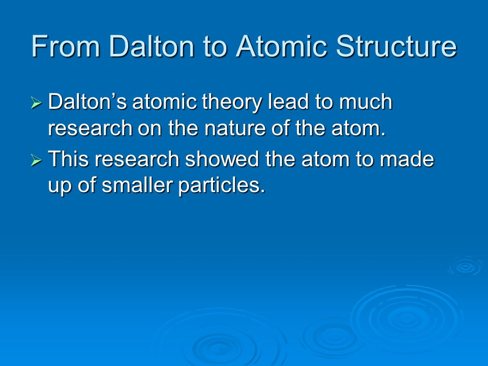 From Dalton to Atomic Structure