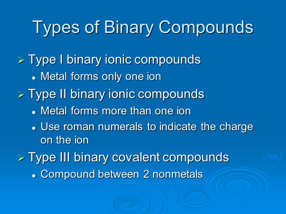 Types of Binary Compounds