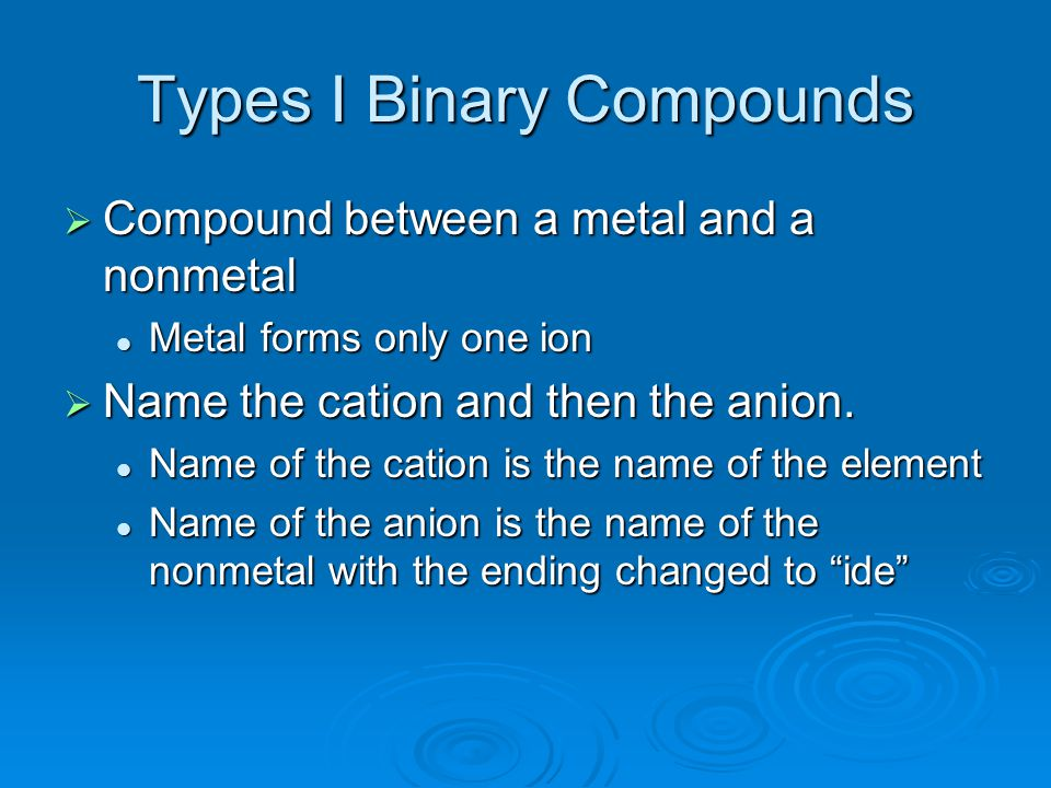 Types I Binary Compounds