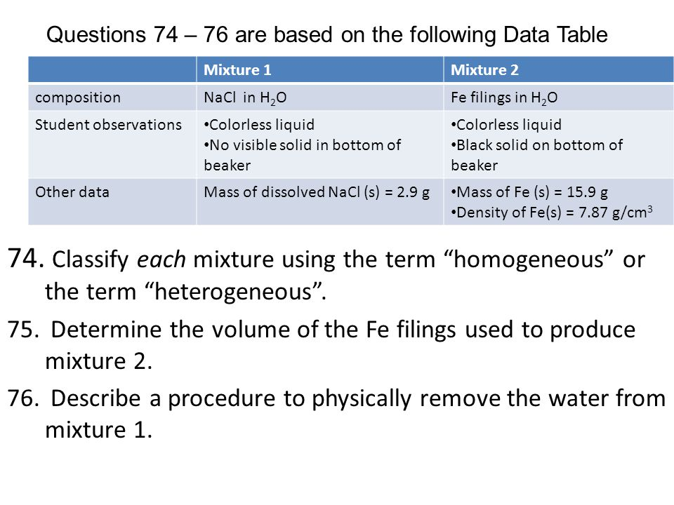 Questions 74 – 76 are based on the following Data Table