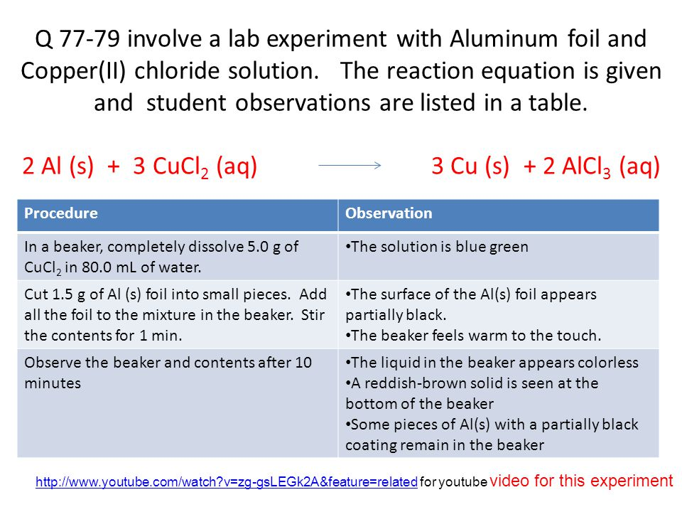 Q 77-79 involve a lab experiment with Aluminum foil and Copper(II) chloride solution. The reaction equation is given and student observations are listed in a table. 2 Al (s) + 3 CuCl2 (aq) 3 Cu (s) + 2 AlCl3 (aq)