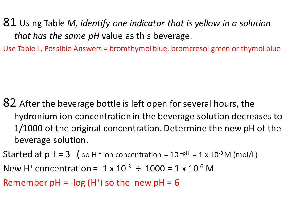 81 Using Table M, identify one indicator that is yellow in a solution that has the same pH value as this beverage.