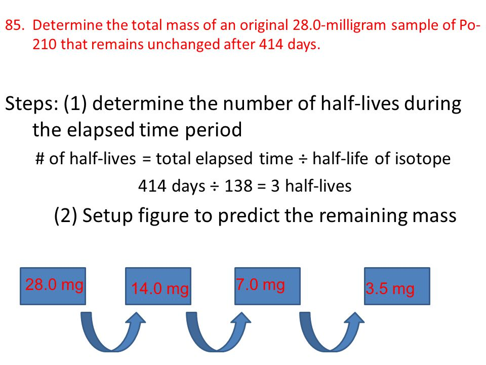 # of half-lives = total elapsed time ÷ half-life of isotope