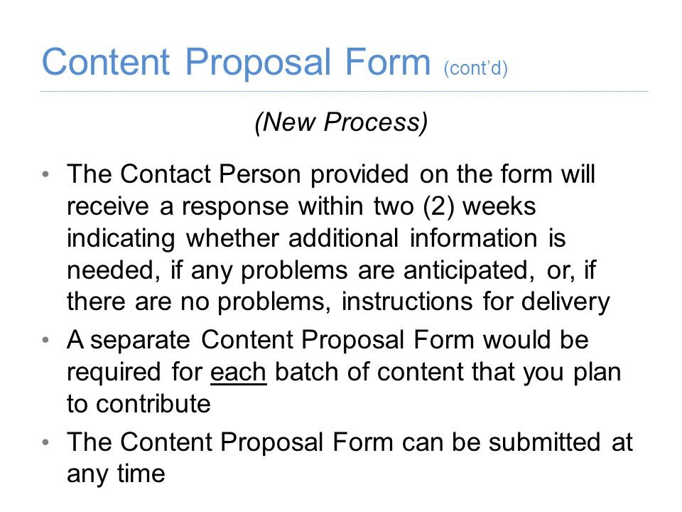 Content Proposal Form (cont'd)