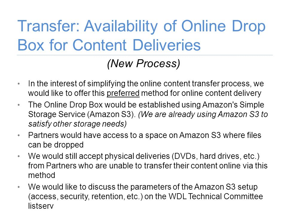 Transfer: Availability of Online Drop Box for Content Deliveries