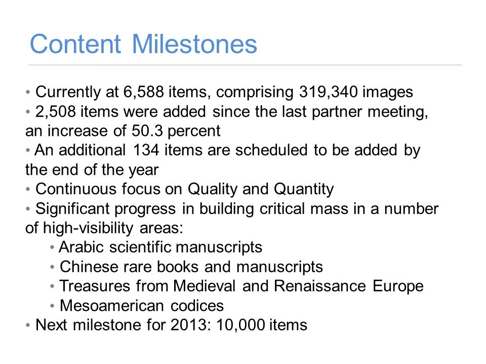 Content Milestones Currently at 6,588 items, comprising 319,340 images