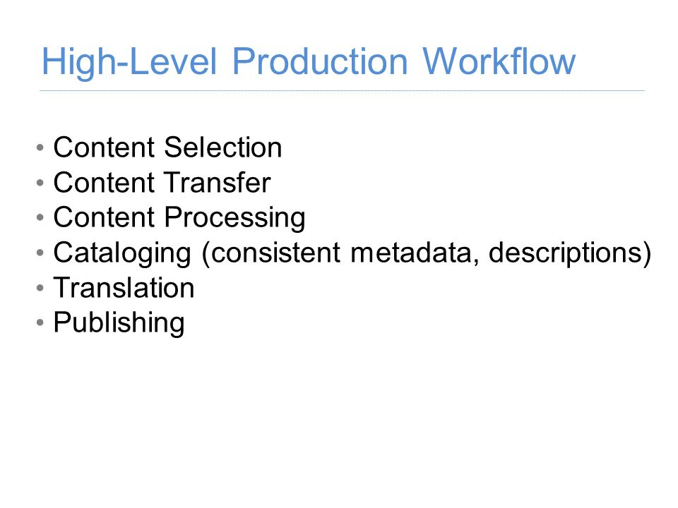 High-Level Production Workflow
