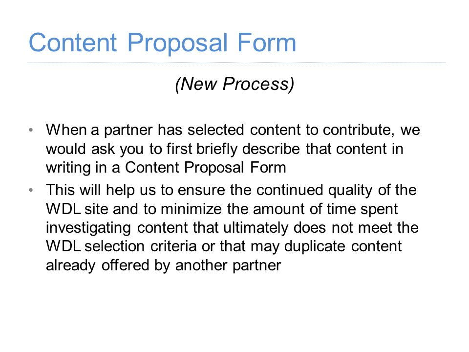 Content Proposal Form (New Process)