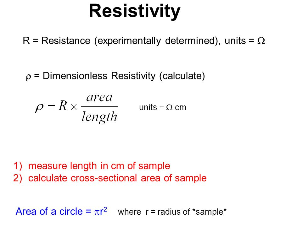 Resistivity R = Resistance (experimentally determined), units = 