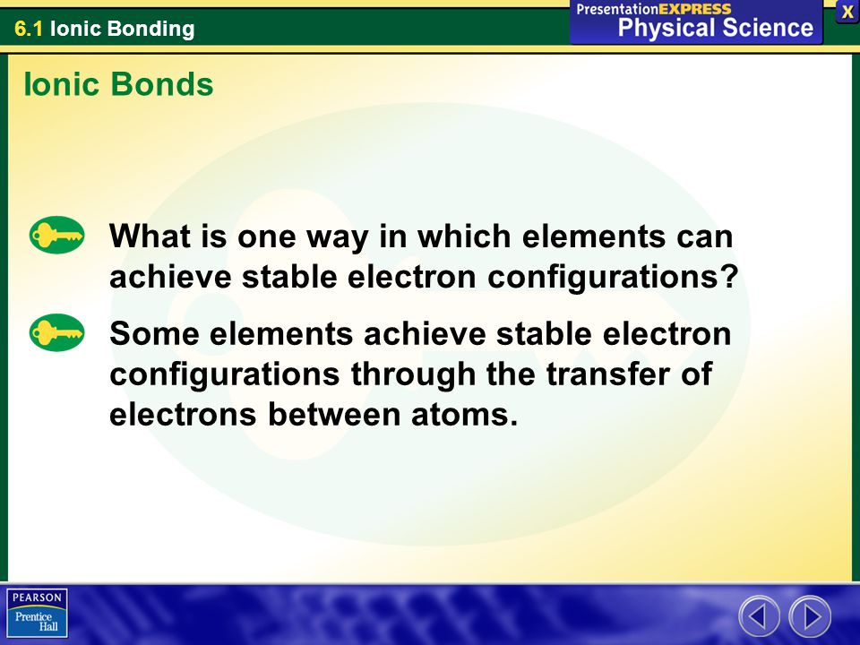 Ionic Bonds What is one way in which elements can achieve stable electron configurations