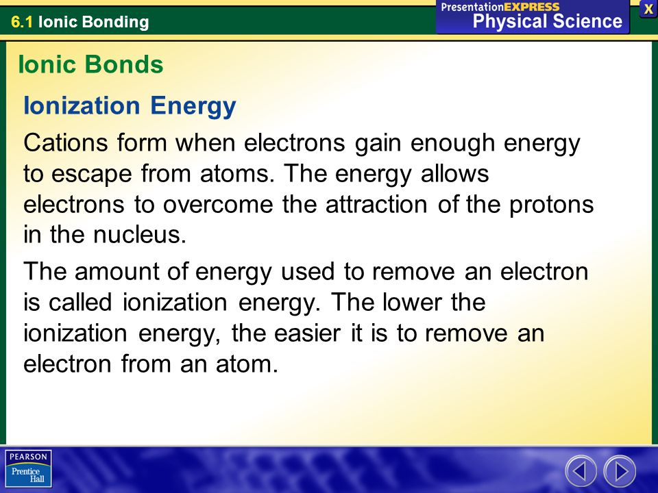 Ionic Bonds Ionization Energy.
