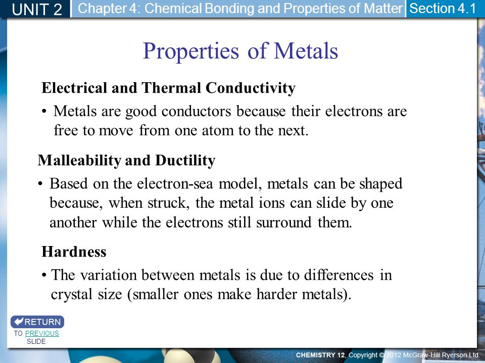 Properties of Metals UNIT 2 Electrical and Thermal Conductivity