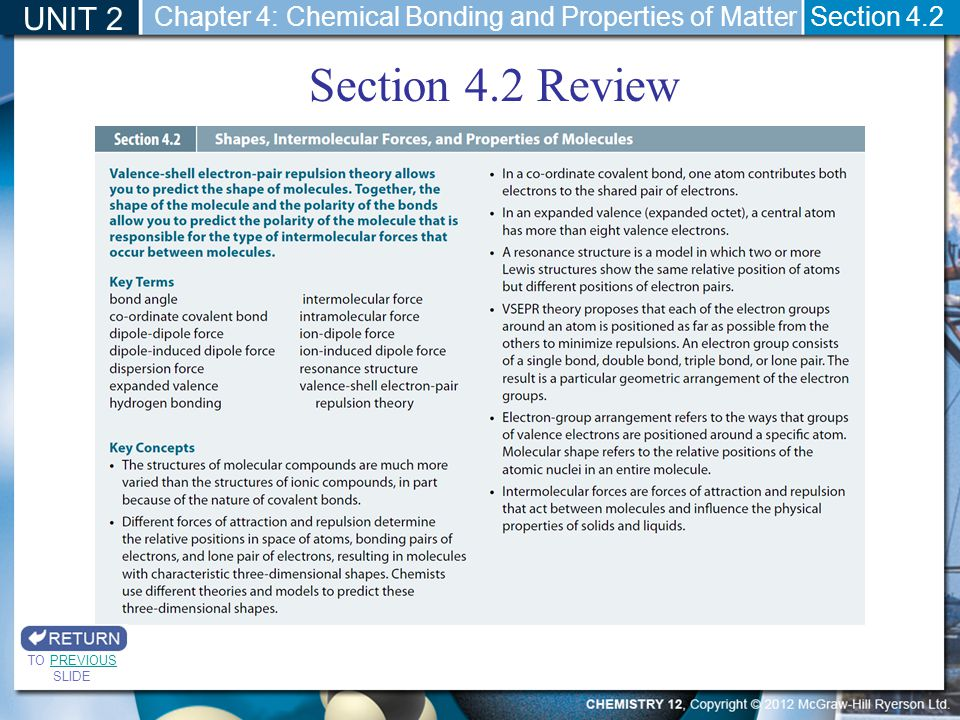 UNIT 2 Chapter 4: Chemical Bonding and Properties of Matter.