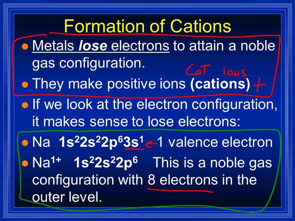 Formation of Cations Metals lose electrons to attain a noble gas configuration. They make positive ions (cations)