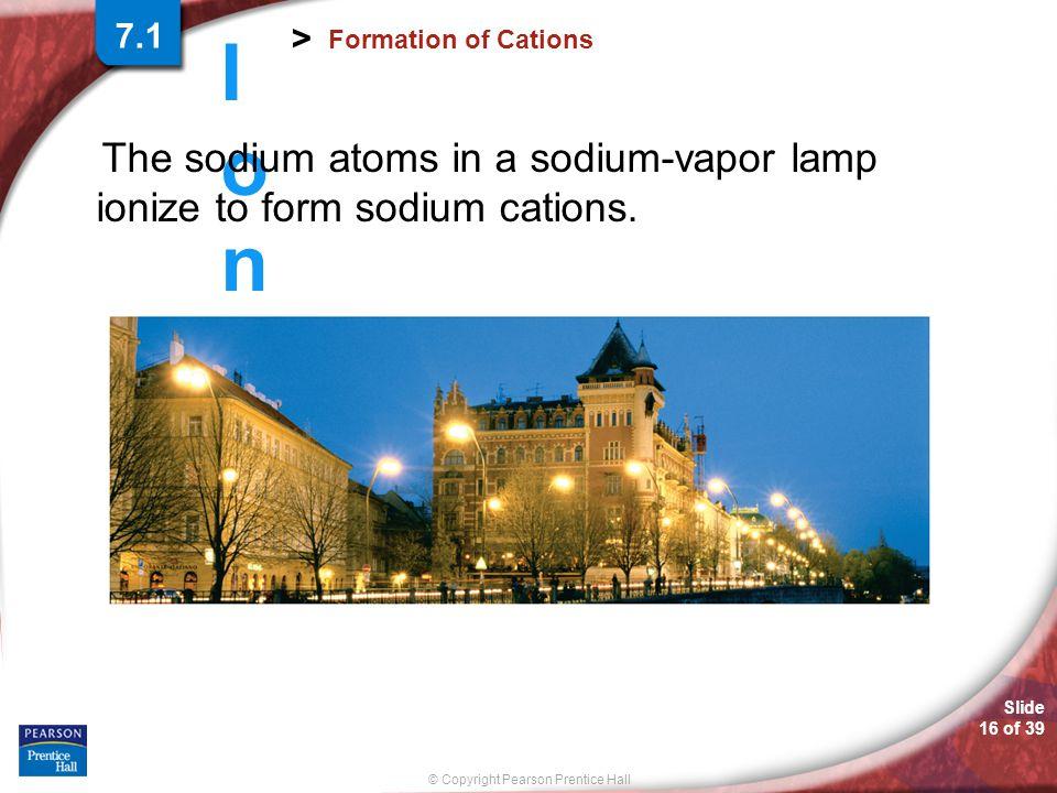 The sodium atoms in a sodium-vapor lamp ionize to form sodium cations.