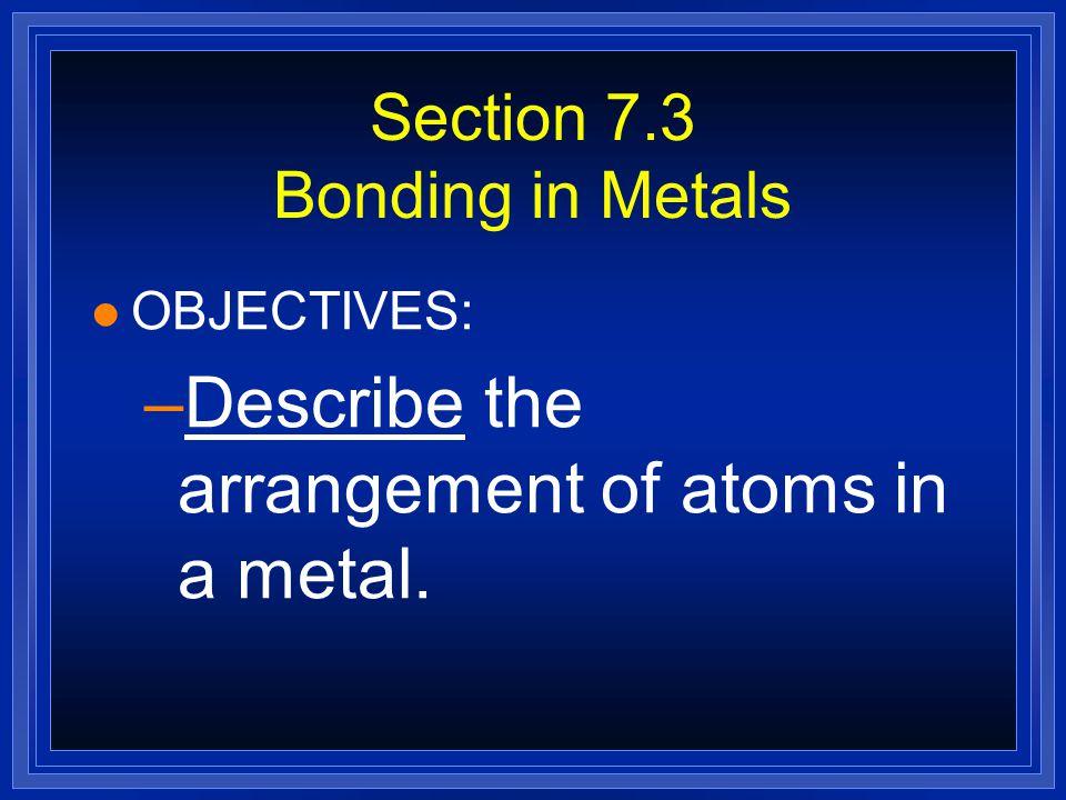 Section 7.3 Bonding in Metals