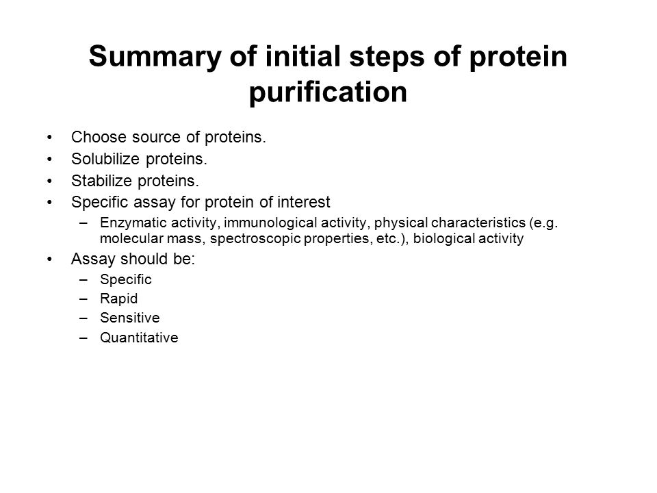 Summary of initial steps of protein purification