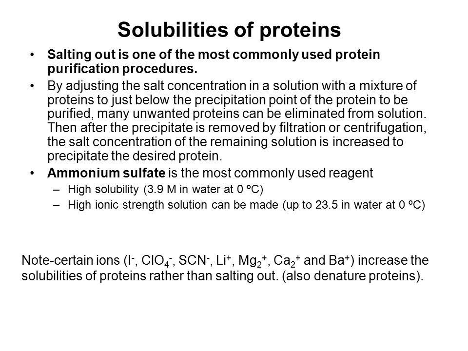 Solubilities of proteins
