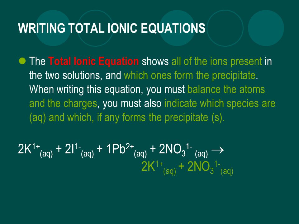 WRITING TOTAL IONIC EQUATIONS